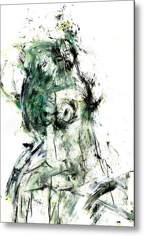 Abstract Metal Print featuring the painting Soul Of A Troubled Lady by Dr Ernest Williamson III