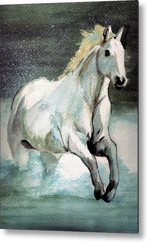 White Horse Water Running Horse Metal Print featuring the painting Splash by Debra Sandstrom