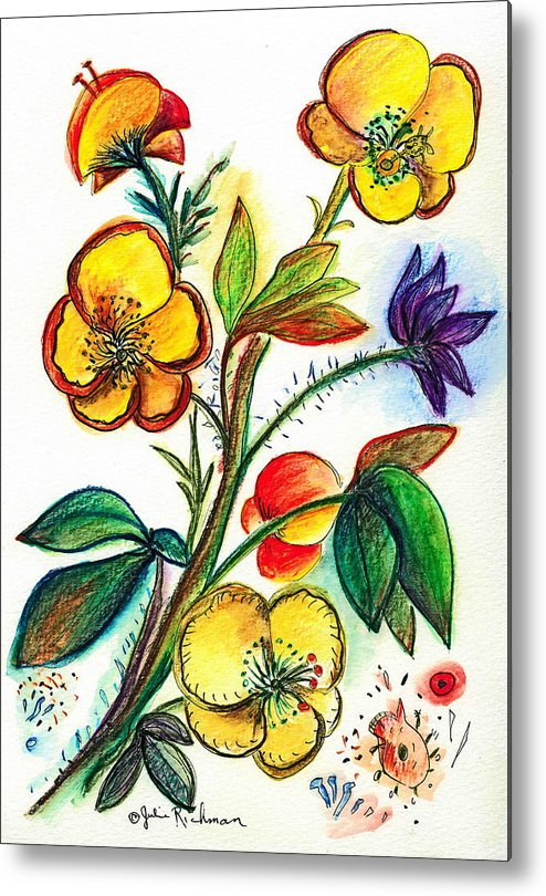 Nature Metal Print featuring the painting Strong Yellow Flowers by Julie Richman