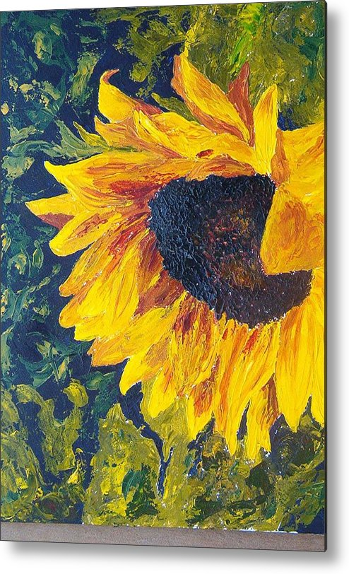 Metal Print featuring the painting Sunflower by Tami Booher