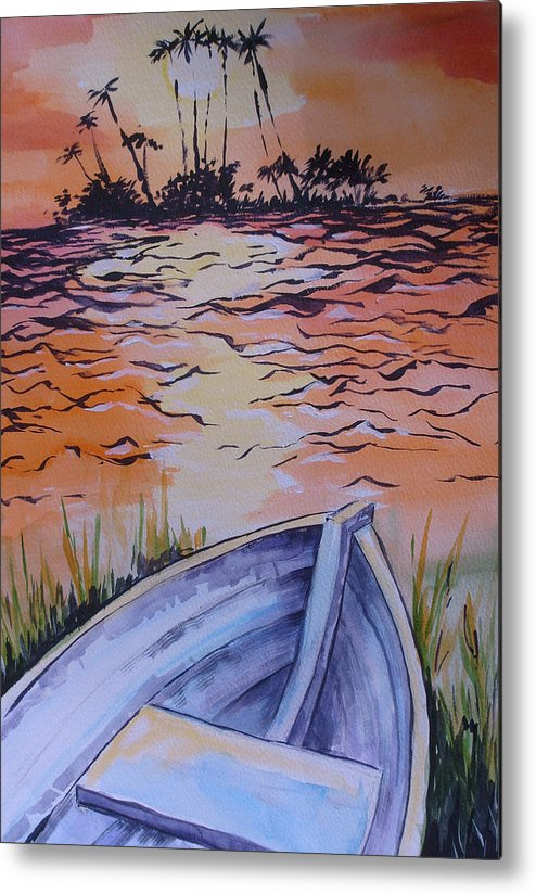 Seascape Metal Print featuring the painting Sunset Dinghy by Paul Choate