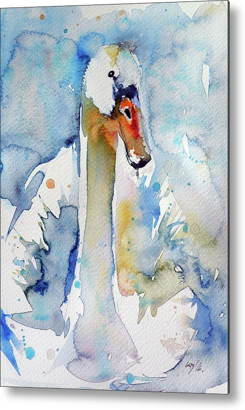 Swan Metal Print featuring the painting Swan by Kovacs Anna Brigitta