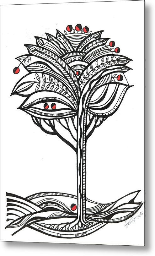 Abstract Metal Print featuring the drawing The Apple Tree by Aniko Hencz