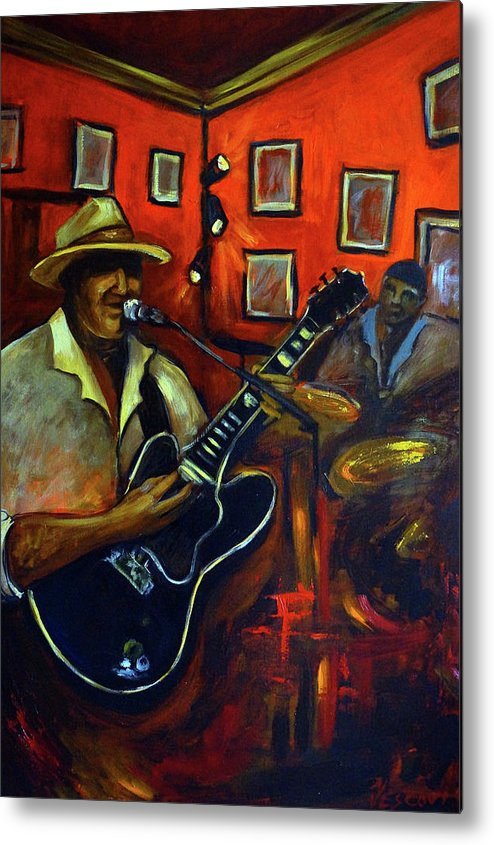 Blues Metal Print featuring the painting The Back Room by Valerie Vescovi