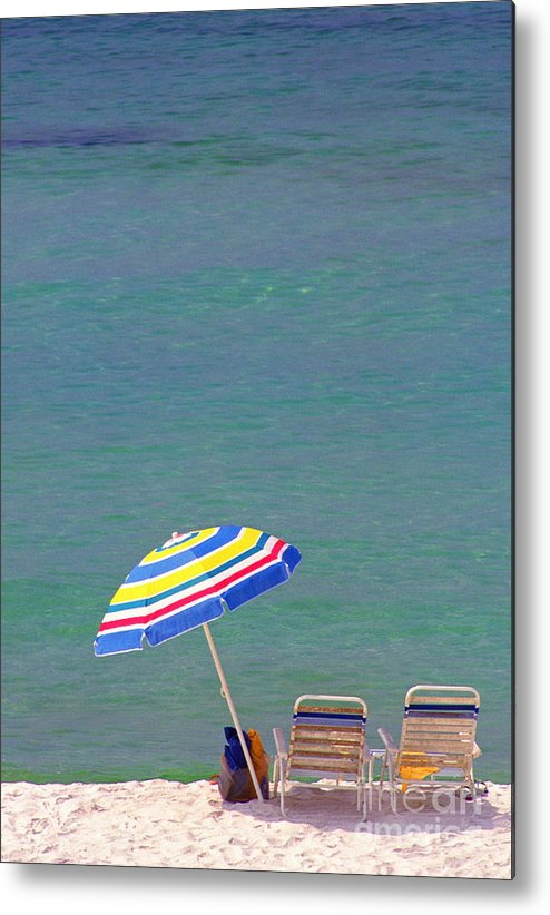 Florida Metal Print featuring the photograph The Emerald Coast With Beach Chairs by Thomas R Fletcher