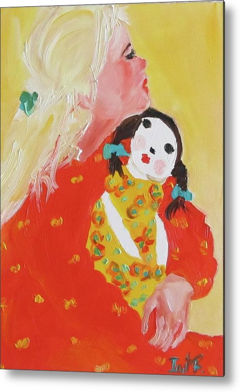 Figurative Metal Print featuring the painting The Gift by Irit Bourla