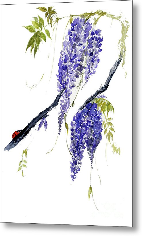 Wisteria Metal Print featuring the painting The Ladybird And The Wisteria by Sibby S