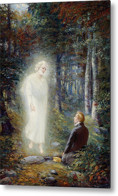 Angel Moroni Metal Print featuring the painting The Restoration by Lewis A Ramsey