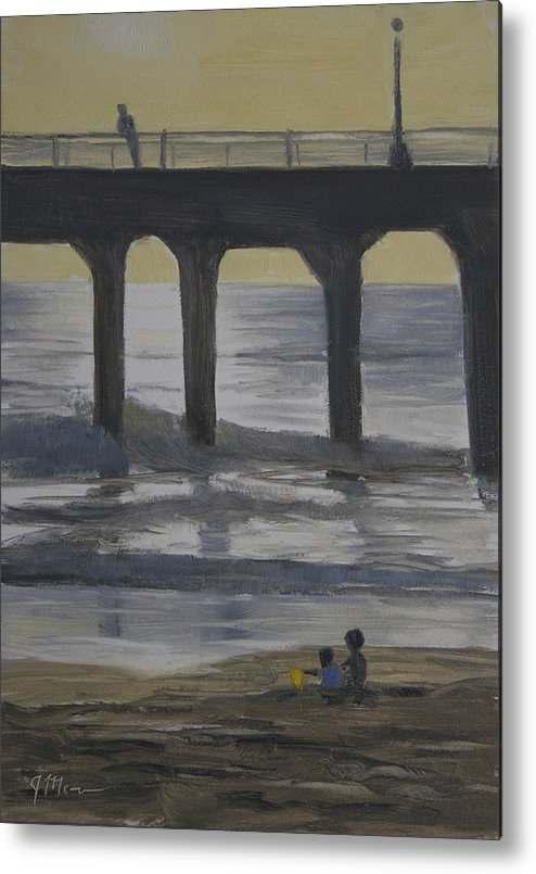 Ocean Metal Print featuring the painting The Yellow Bucket by Joe Mancuso