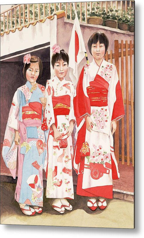 Three Japanese Girls In Kimono Metal Print featuring the painting Three Sisters by Judy Swerlick
