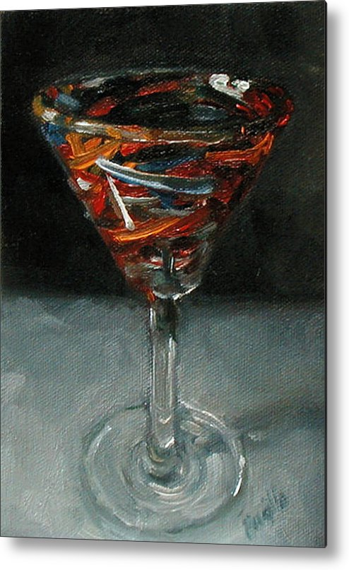 Still Life Metal Print featuring the painting 'tini Glass by Kathy Busillo