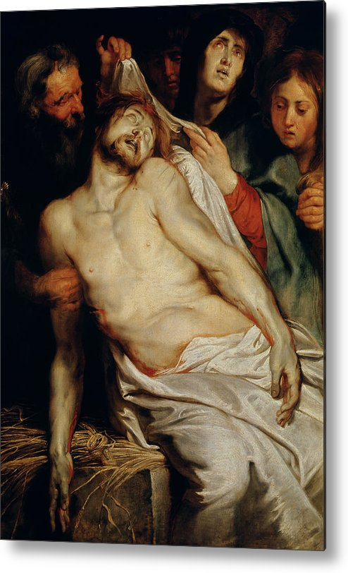 Triptych Of Christ On The Straw Metal Print featuring the painting Triptych Of Christ On The Straw by Rubens