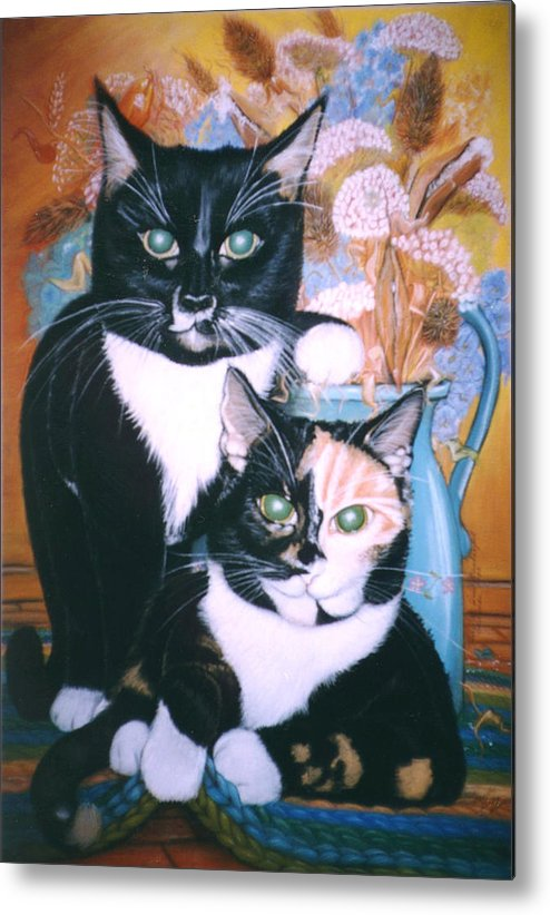 Cats Metal Print featuring the painting Two Cats by Winifred Ann Weishampel