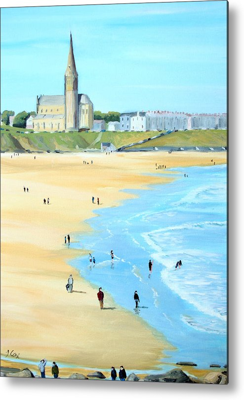Seascape. Beach. Church. England. Uk Metal Print featuring the painting Tynemouth Beach by John Cox