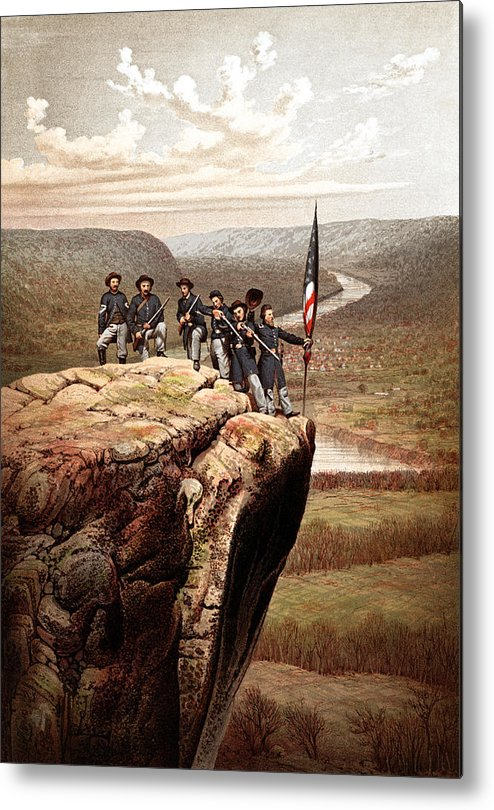 Civil War Metal Print featuring the painting Union Soldiers On Lookout Mountain by War Is Hell Store