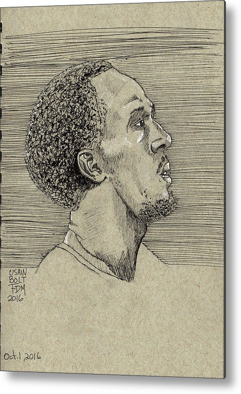 Portrait Metal Print featuring the drawing Usain Bolt by Frank Middleton