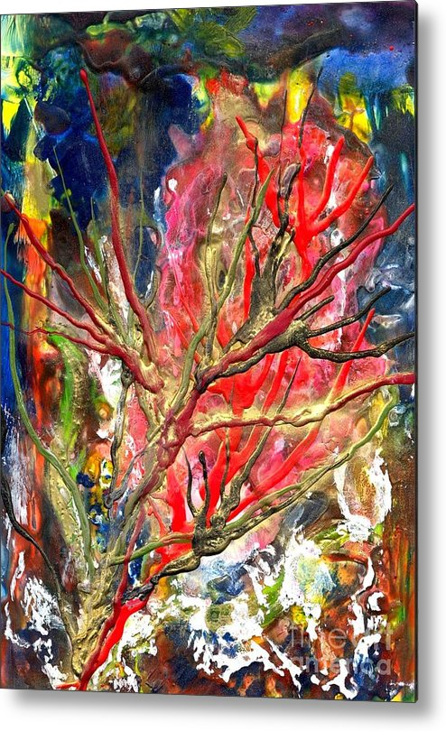 Free Metal Print featuring the painting Veins Of Promise by Heather Hennick