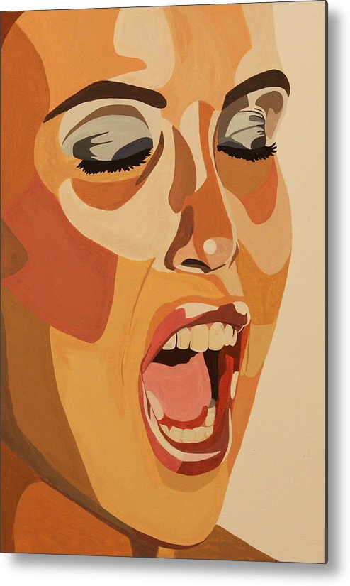 Woman Metal Print featuring the painting Watercolor Scream by Michelle Miron-Rebbe