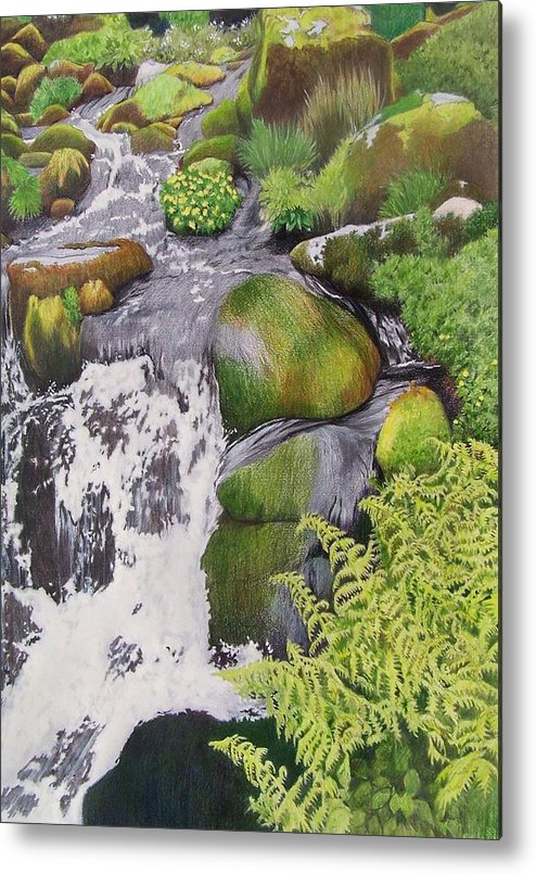 Waterfall Metal Print featuring the mixed media Waterfall On Skye by Constance Drescher