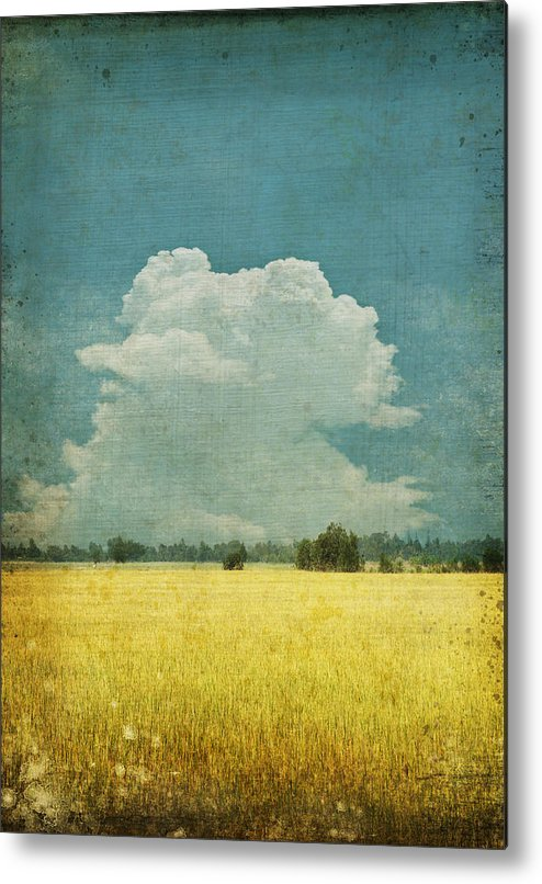 Abstract Metal Print featuring the photograph Yellow Field On Old Grunge Paper by Setsiri Silapasuwanchai