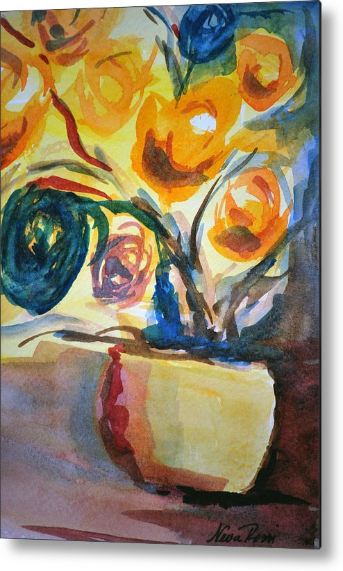 Floral Metal Print featuring the painting Yellow Floral by Neva Rossi