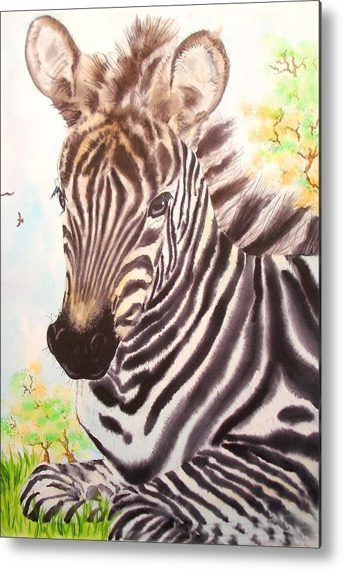 Pets Metal Print featuring the painting Zebra by Sonya Catania
