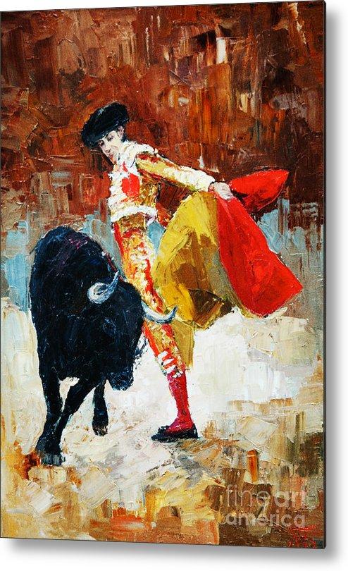 Paint Metal Print featuring the digital art Bullfighting In Spain, Oil Painting by Maria Bo