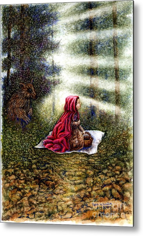 Girl In Forest Metal Print featuring the painting The Fate Of Little Red Riding Hood Part Two by Karen Wheeler