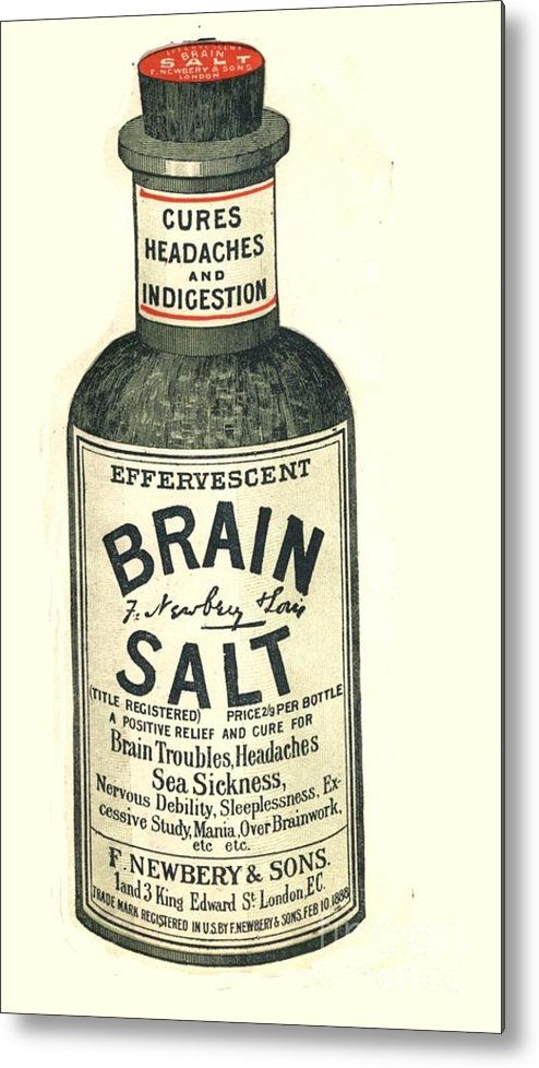 1890�s Metal Print featuring the drawing 1890s Uk Brain Salt Headaches Humour by The Advertising Archives