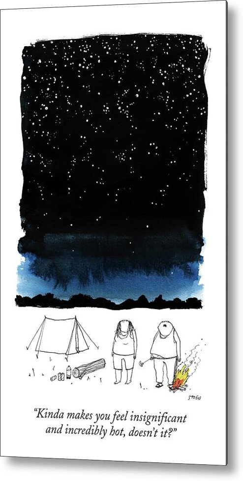 Stars Metal Print featuring the drawing A Man Looks Up At The Night Sky by Edward Steed