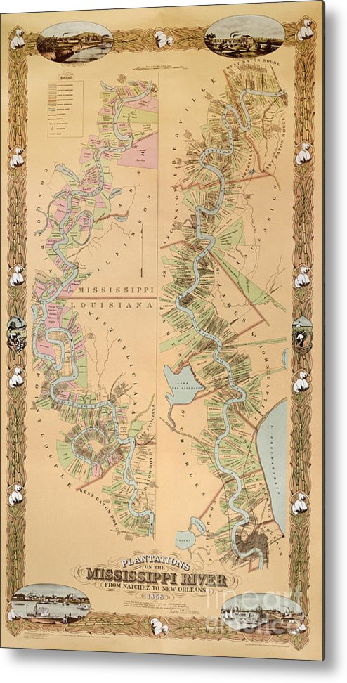 Map Depicting Plantations On The Mississippi River From Natchez To New Orleans Metal Print featuring the drawing Map Depicting Plantations On The Mississippi River From Natchez To New Orleans by American School