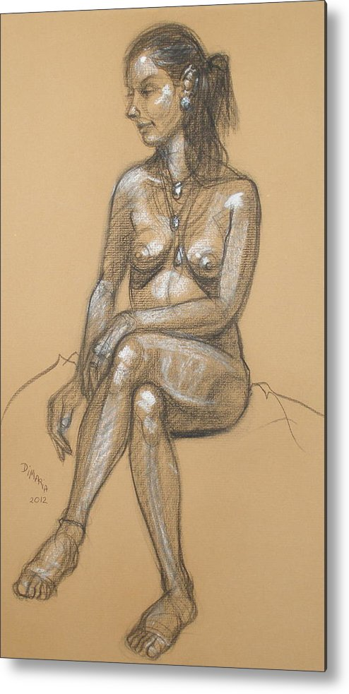 Realism Metal Print featuring the drawing Carina Seated by Donelli DiMaria