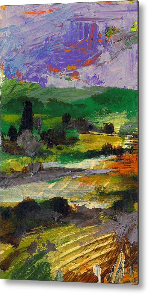 Landscape Metal Print featuring the painting Hillside Pastures by Dale Witherow