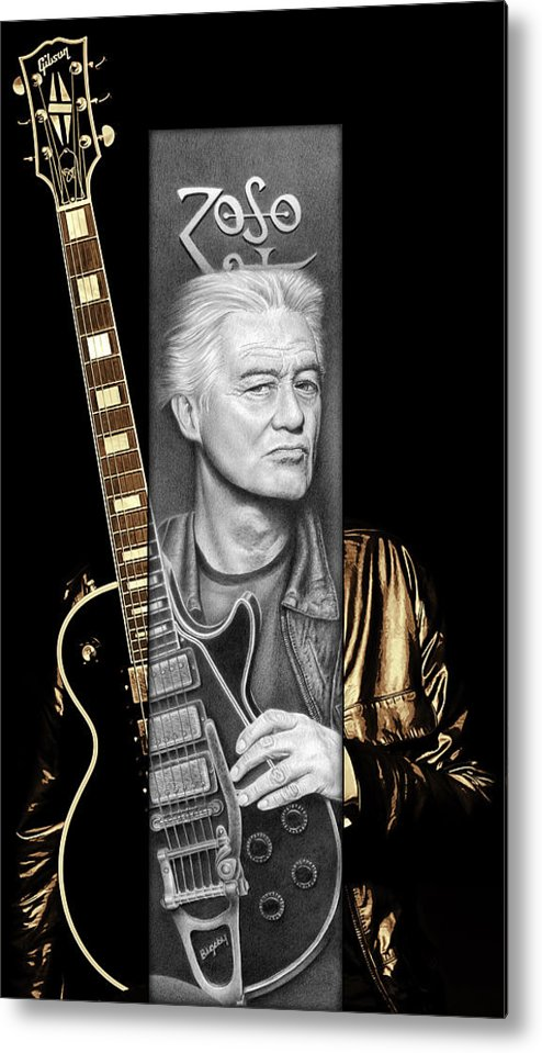 Jimmy Page Metal Print featuring the drawing Jimmy Page Drawing by Jeffrey St Romain