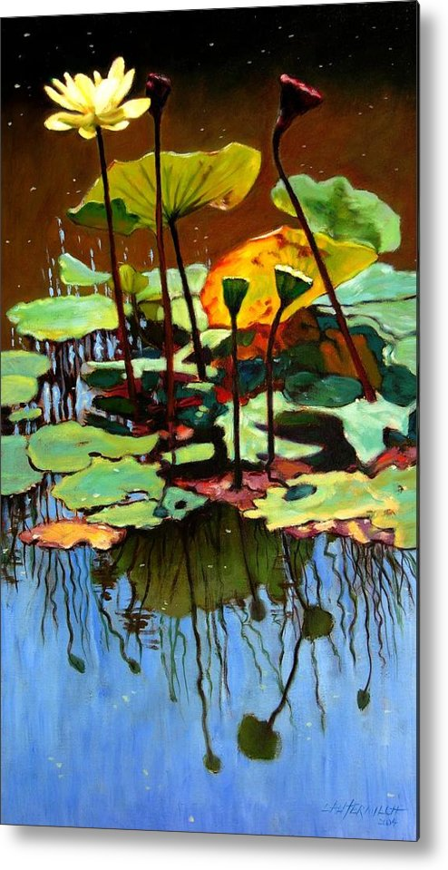 Lotus Flower Metal Print featuring the painting Lotus In July by John Lautermilch