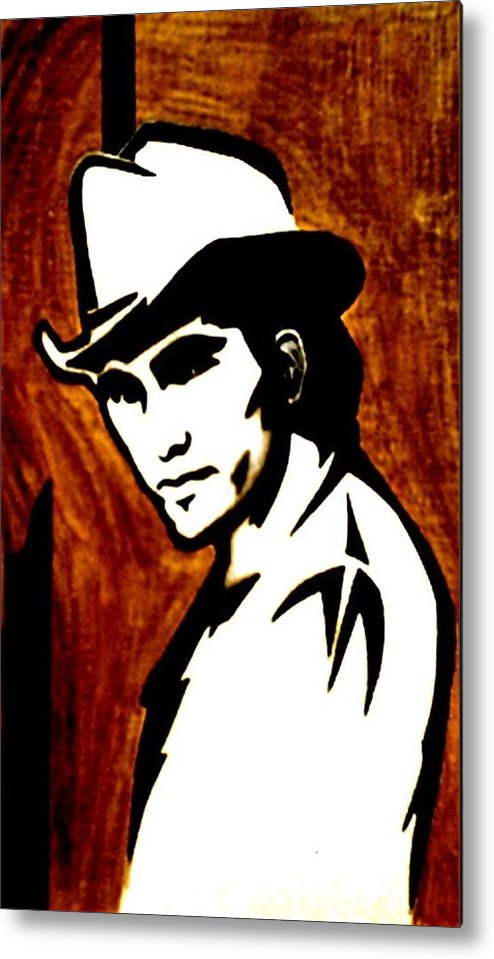 Portraits Metal Print featuring the painting Townes Van Zandt by Jeff DOttavio
