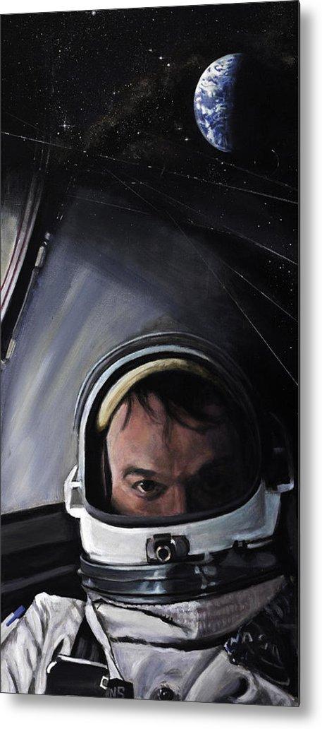Nasa Metal Print featuring the painting Gemini X- Michael Collins by Simon Kregar