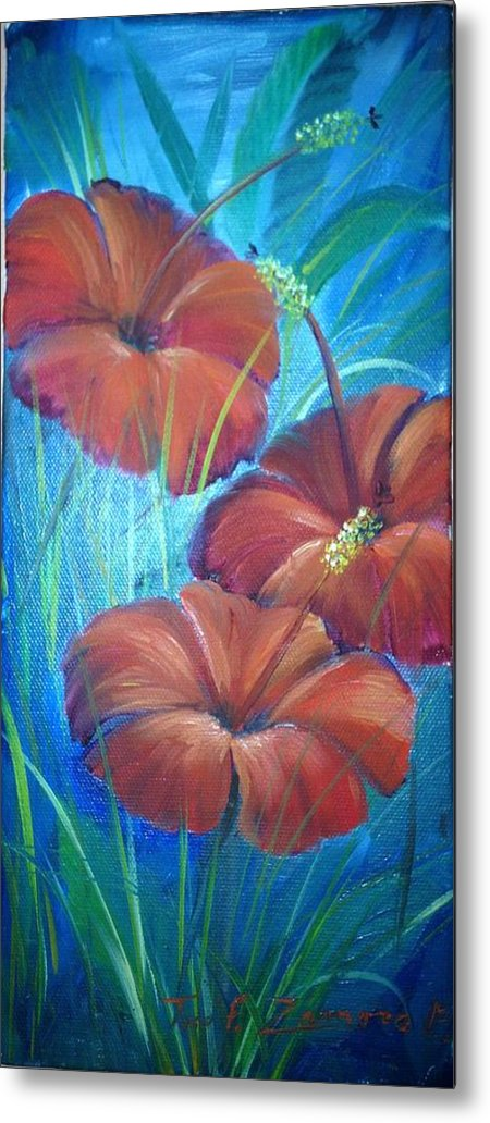 Flowers Metal Print featuring the painting Ibiscos Del Corazon by Jaime Zamora