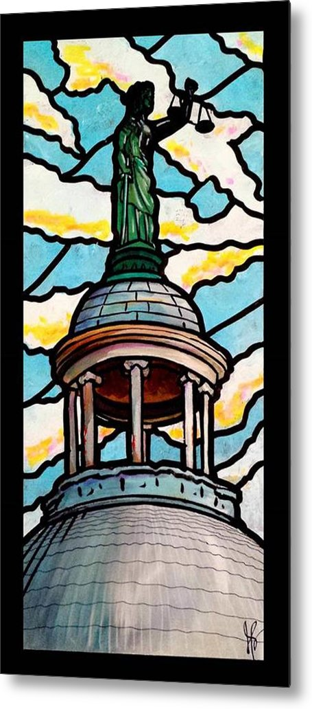 Courthouse Metal Print featuring the painting Lady Justice by Jim Harris