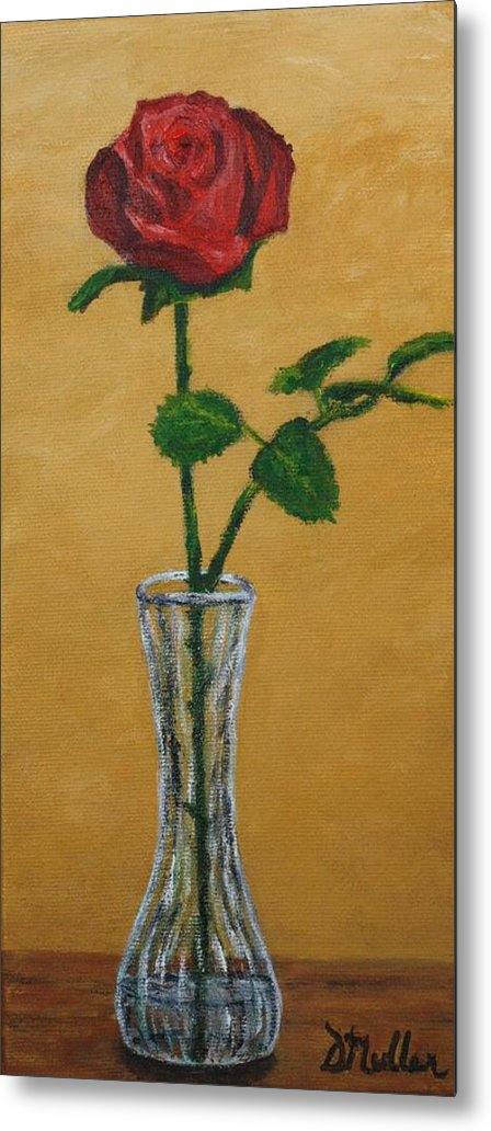 Vase Metal Print featuring the painting My Rose by Donna Muller