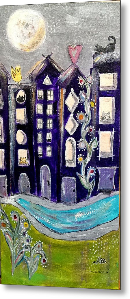 Cat Art Metal Print featuring the painting Night Kittyscape by Lou Belcher