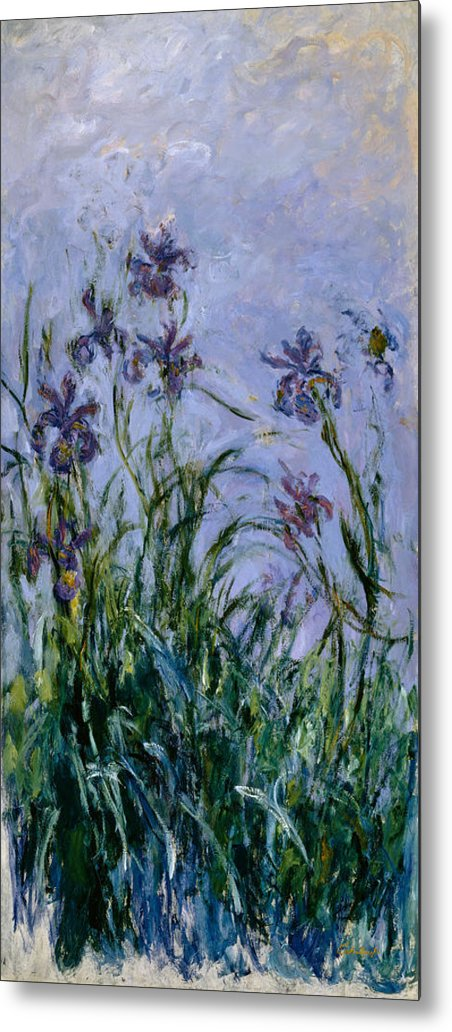 Purple Metal Print featuring the painting Purple Irises by Claude Monet