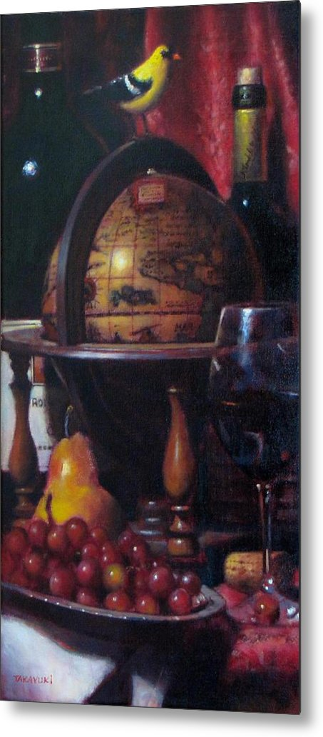 Wine Painting Metal Print featuring the painting Red Wine With Gold Finch Little Company by Takayuki Harada
