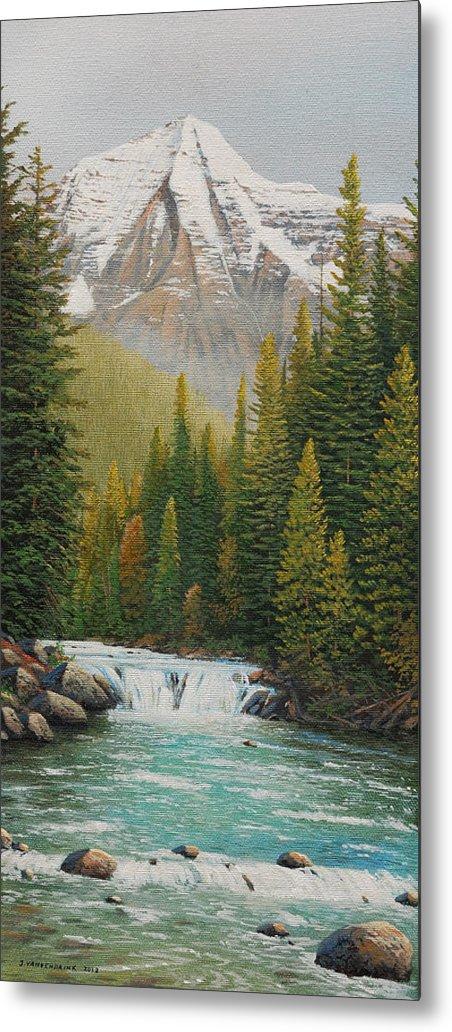Jake Vandenbrink Metal Print featuring the painting Robson River Falls by Jake Vandenbrink
