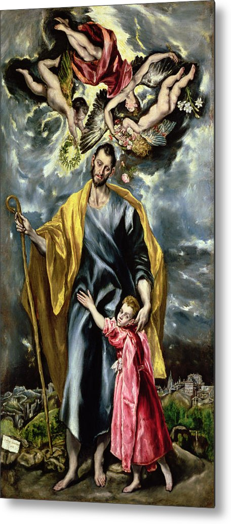 El Greco Metal Print featuring the painting Saint Joseph And The Christ Child by El Greco