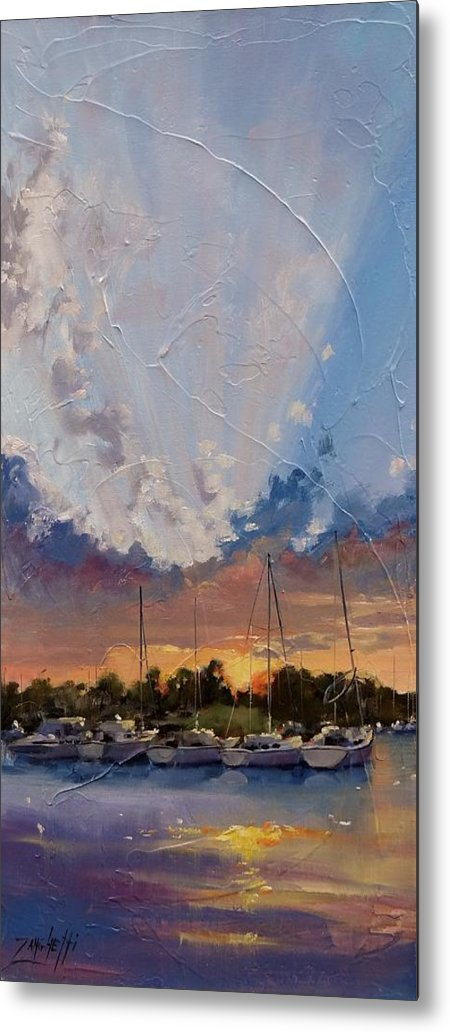 Sunset Metal Print featuring the painting Sunset Over Bay Point by Laura Lee Zanghetti
