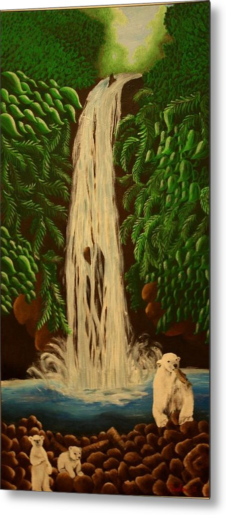 Waterfall Metal Print featuring the painting Waterfall With Polar Bears by Erin Nessler