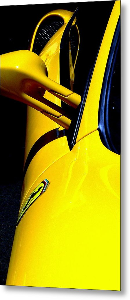 Ferrari Metal Print featuring the photograph Yellow Ferrari by Jeff Lowe