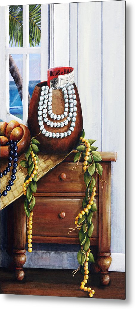 Acrylic Metal Print featuring the painting Hawaiian Still Life Panel by Sandra Blazel - Printscapes
