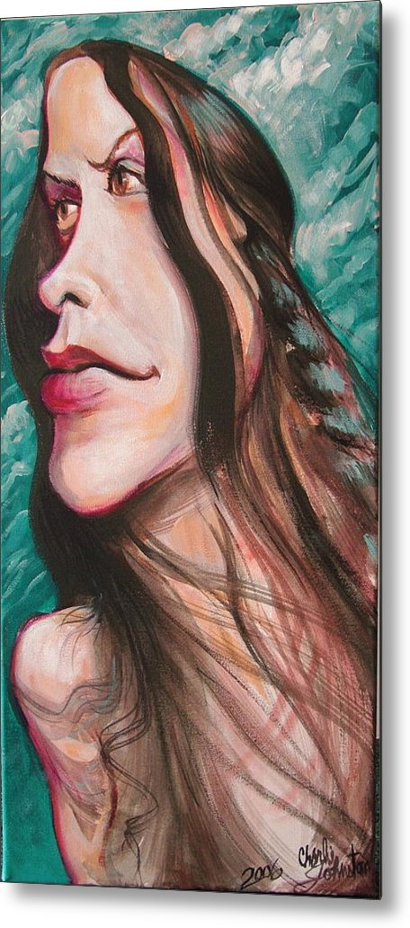 Portrait Metal Print featuring the painting Alanis Morissette by Charles Johnston